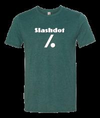 Slash Dot Logo Mens Tee Green Front